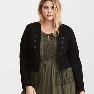 NWT TORRID TWILL CROPPED MILITARY JACKET, SIZE 2